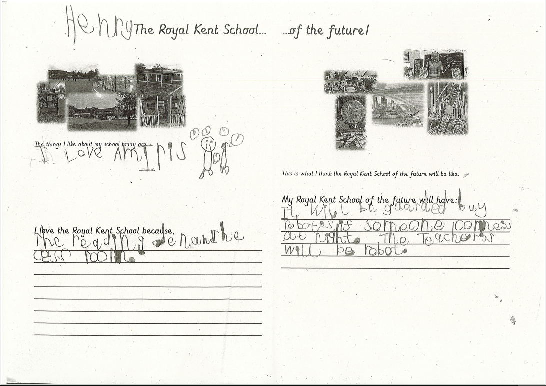 Henry has completed a worksheet called 'The Royal Kent School... of the future!'