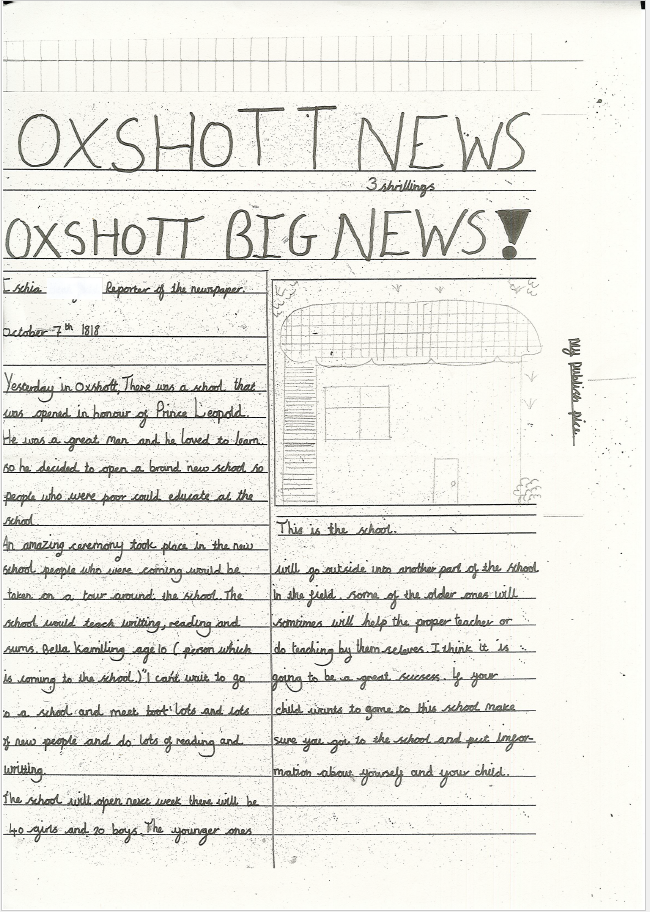 Ischia has written an article for the 'Oxshott News'. She has also drawn a plan of what the old school building would have looked like.