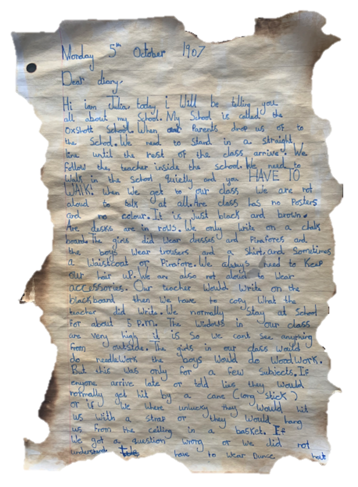 Julia has written her diary entry in ink on lined paper. She has burnt the edge of the paper making it appear very old!