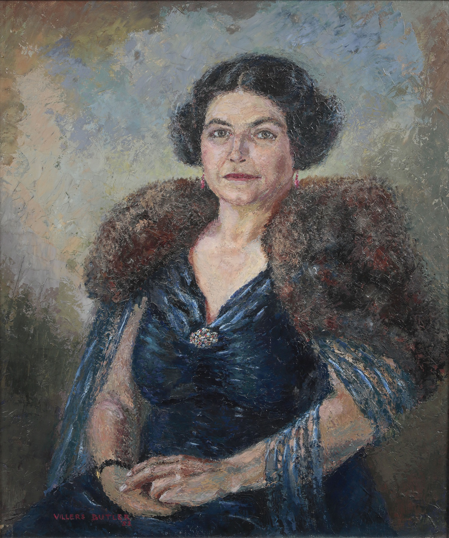 Oil on Canvas portrait of Amy Constance Gentry O.B.E, 1952, by Villers Butler.