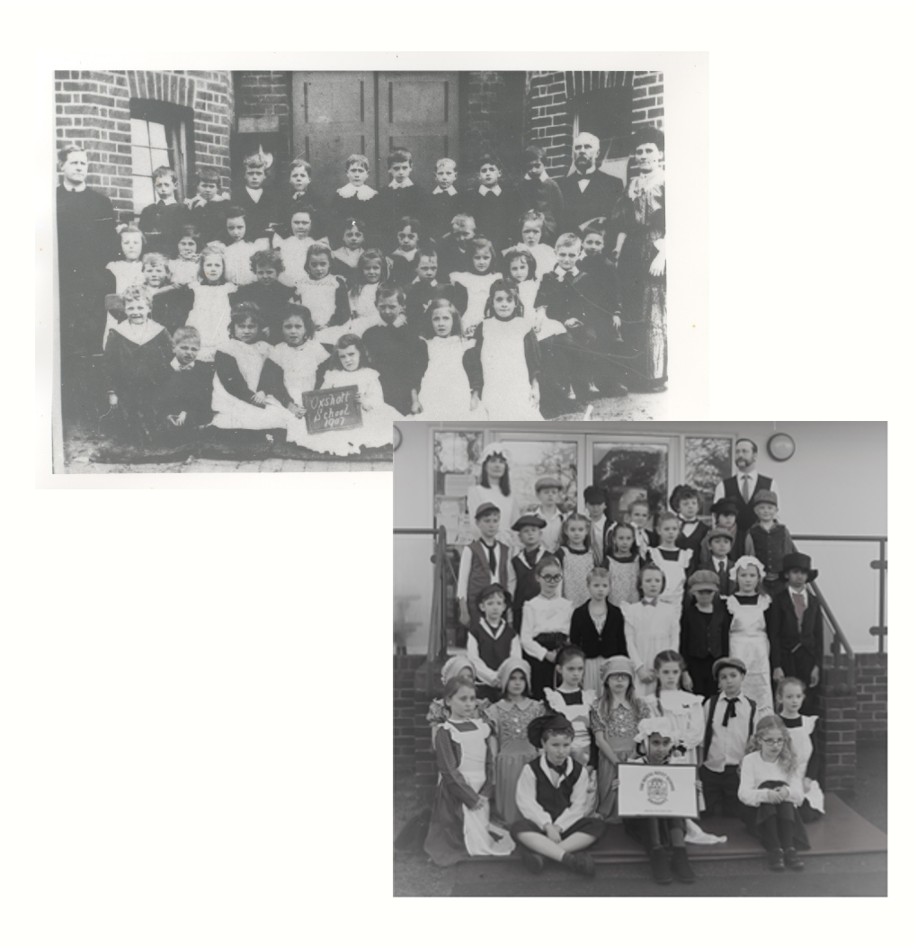 A photograph of pupils at Royal Kent School taken in 1907 is shown alongside a picture of Oak class in Victorian dress.