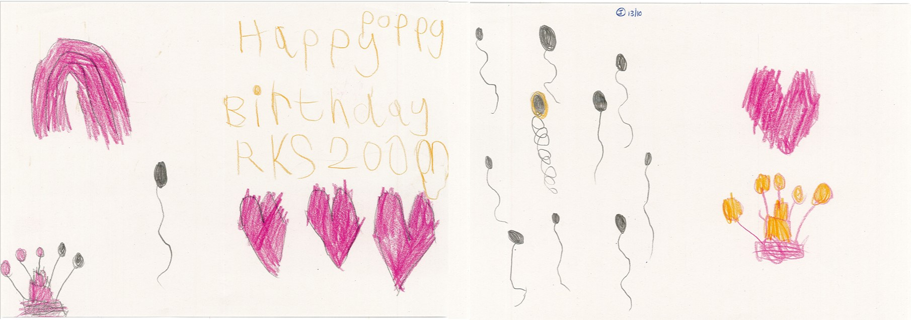 Poppy has used pink and yellow crayons to create a drawing wishing Royal Kent School a happy 200th birthday. She has decorated her message with drawings of hearts, balloons and birthday cakes.