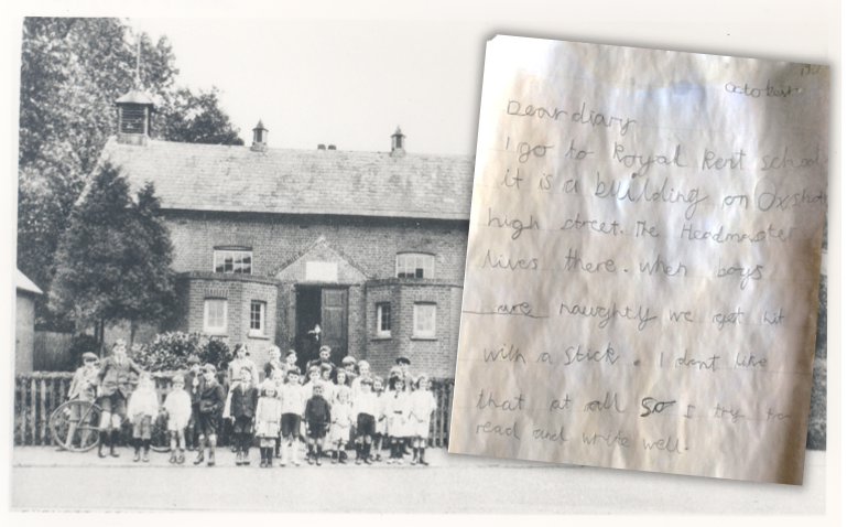 Thomas has written his diary in pencil. His work has been placed alongside an old image of the school.
