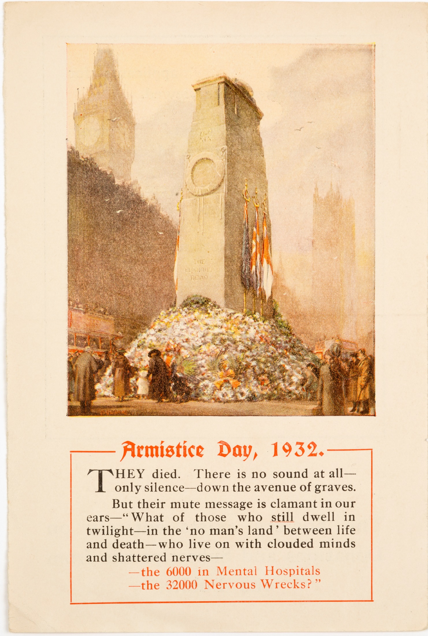 Appeal Notice with a coloured drawing of the Cenotaph, entitled 'Armistice Day, 1932'