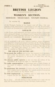 Application form with rules for the British Legion, Women's Section's Walton branch.