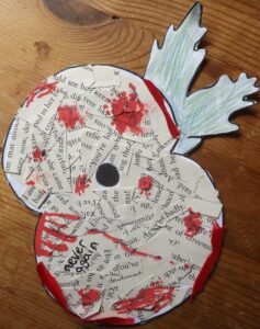 Poppy collage by a student at Hinchley Wood Secondary School