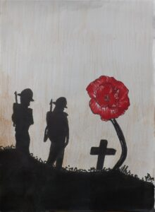 Painting of soldiers and a poppy by a student at Hinchley Wood Secondary School