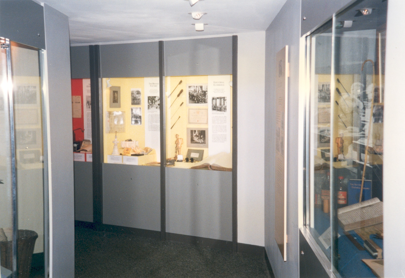 The refurbished Elmbridge Museum, showing the Industry case, with the Education display on the right.