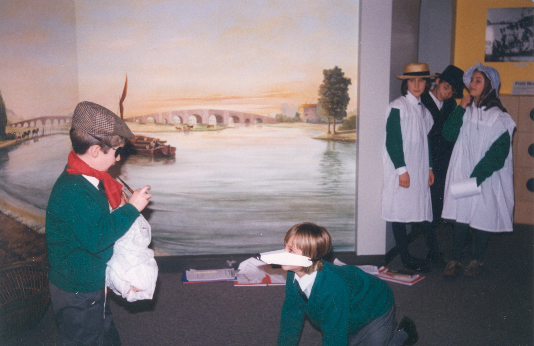 A school visit by Hurst Park School, Molesey to Elmbridge Museum in early 1997. This was the first school visit to the museum that year, and since the major refurbishment.