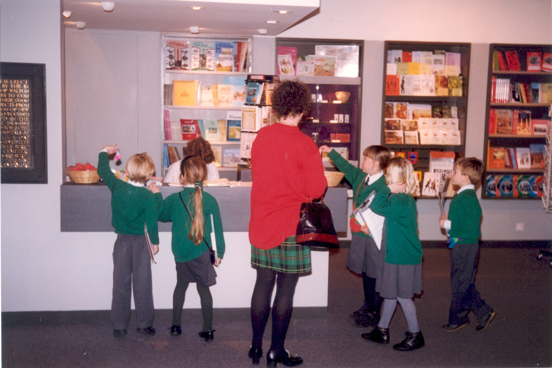 A school visit by Hurst Park School, Molesey, to Elmbridge Museum in early 1997. This was the first school visit to the museum that year and since the major refurbishment.